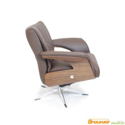 fauteuil draaipoot metaal open zijkant bruin leer