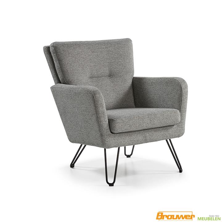 fauteuil design grijs zwarte poten