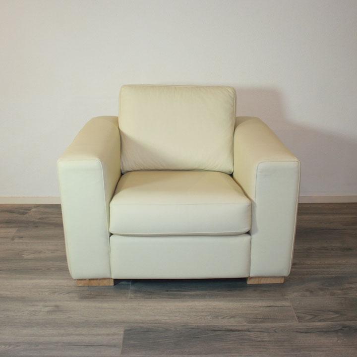 royaal fauteuil ivoor kleur leer leder