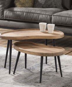 Massief acacia naturel-salontafel-set van 2