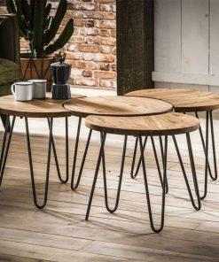 salontafel-set- massief acaciahout