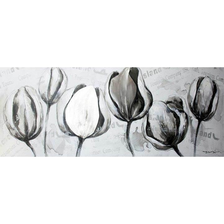 schilderij rustig wit grijs tulpen 60x150