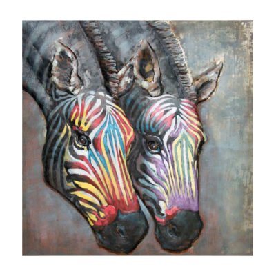 schilderij metaal kleur zebra dieren 100x100