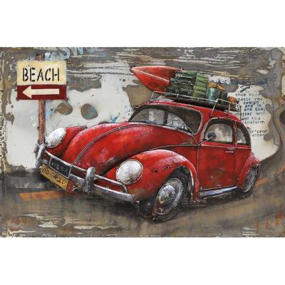 schilderij metaal auto rood bearch 80x120