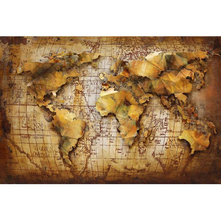 wereldkaart schilderij metaal 3D oranje warm 120x80 cm