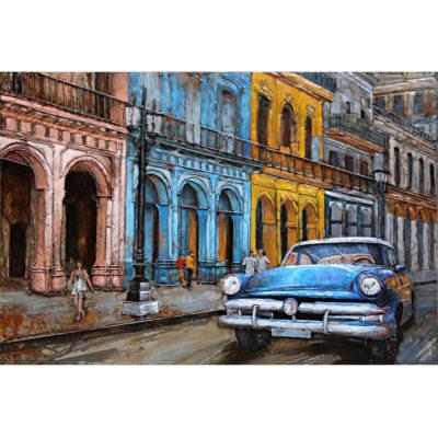 schilderij kleurrijk havana auto blauw 80x120