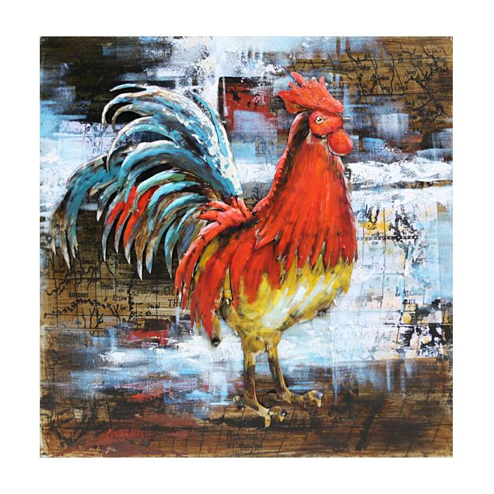 schilderij haan kleurrijk doek 80x80