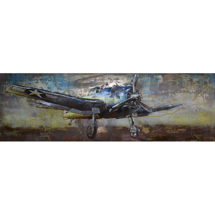 schilderij vliegtuig blauw metaal 60x180