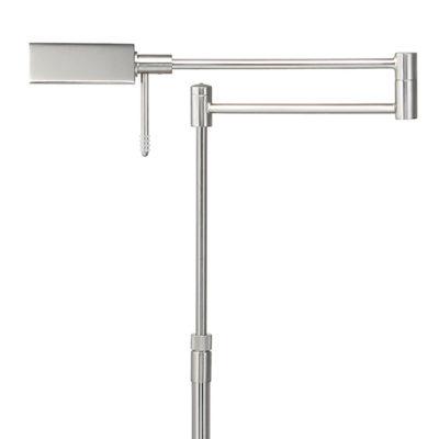 LED vloerlamp nikkel mat staal verstelbaar in hoogte