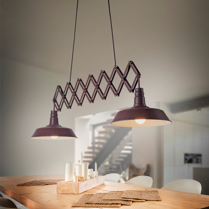 lamp in breedte verstelbaar roest kleur veer detroit