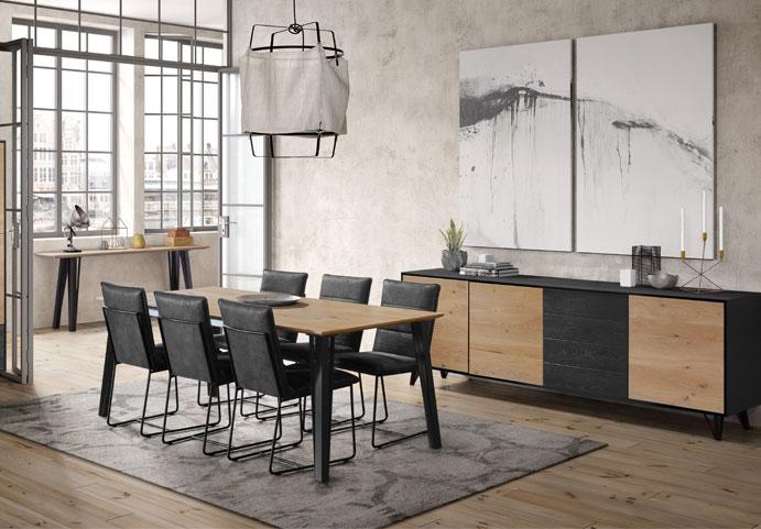 complete woonkamer eiken zwarte fronten modern