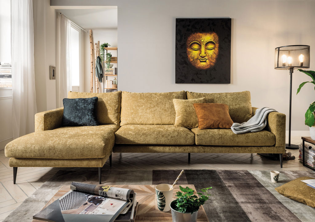 bank op hoge poten goudkleur chaise lounge bank