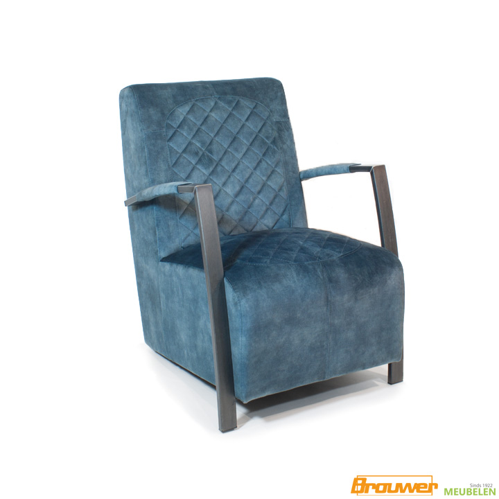 industriele fauteuil blauw stof diamant stiksel
