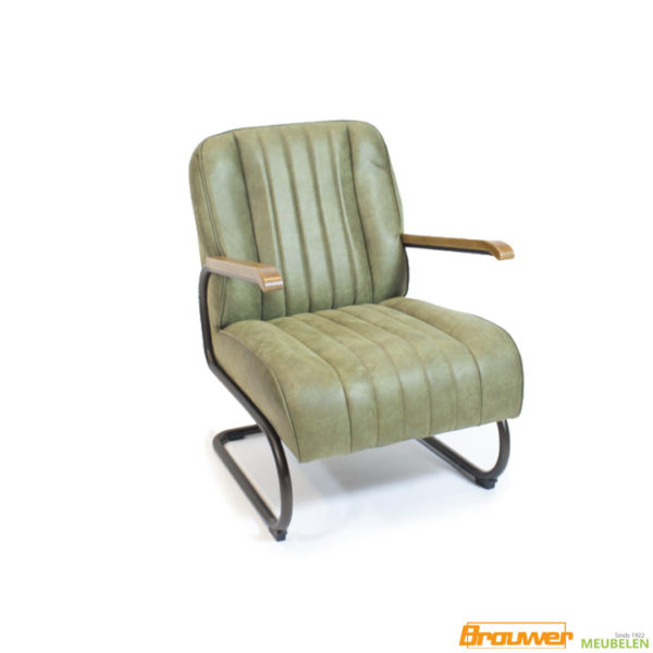 industriele fauteuil groen houten armleggers
