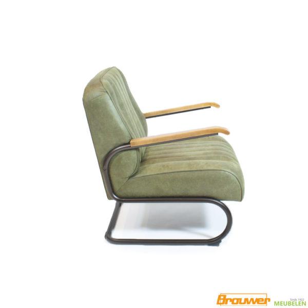 stoel met houten armleggers fauteuil groen zwart frame
