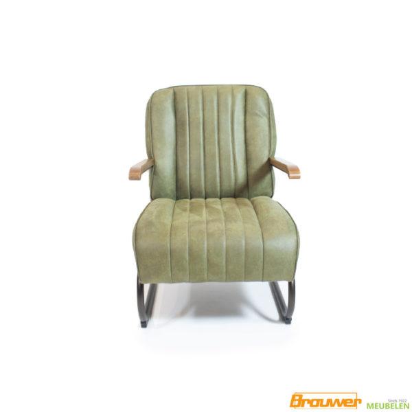 groene fauteuil leer stoere stoel