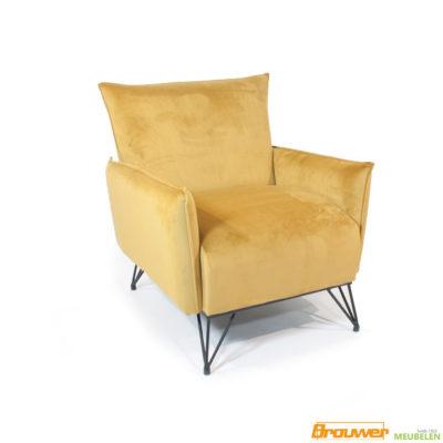 velours fauteuil geel luxe stoel
