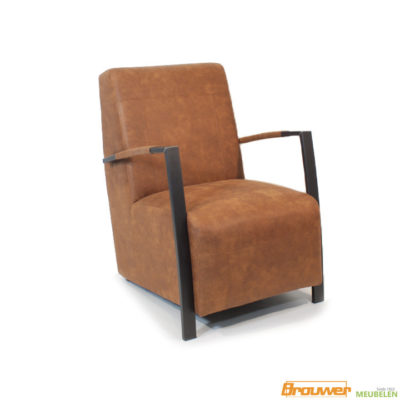 fauteuil industrieel cognac stoer