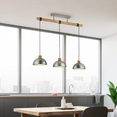 hanglamp hout grijs metaal speels