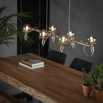 trendy hanglamp glas RVS