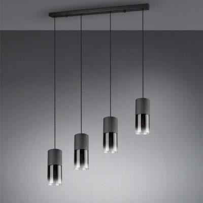 Hanglamp rookglas glas zwart