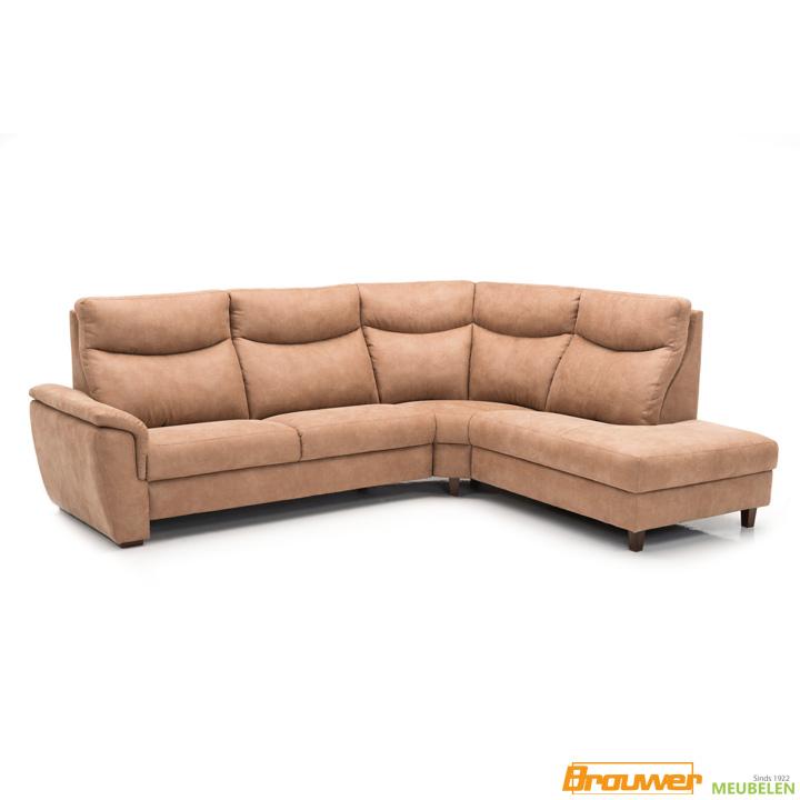hoekbank met relax bruin stof