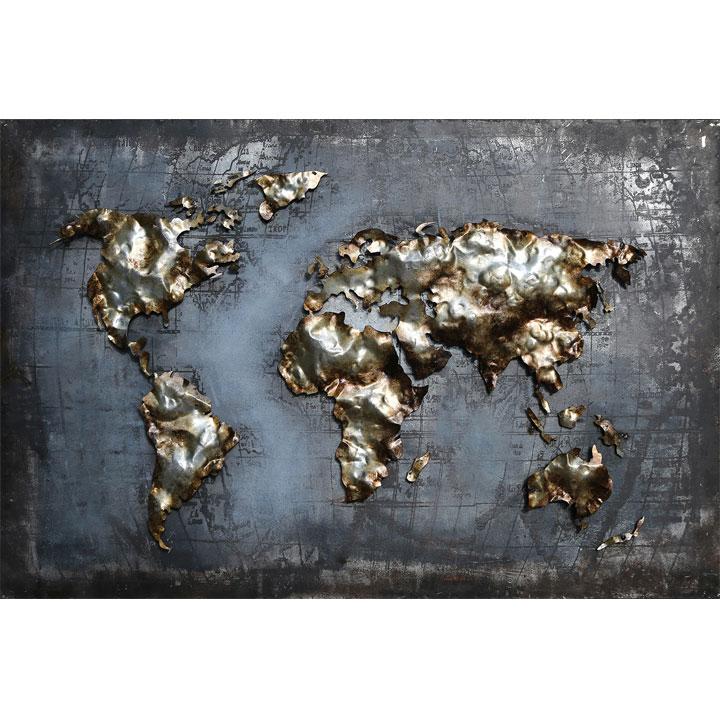 schilderij wereld blauw goud metaal