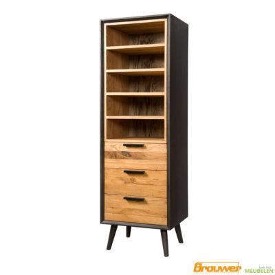 boekenkast-eiken-zwart-op-pootjes