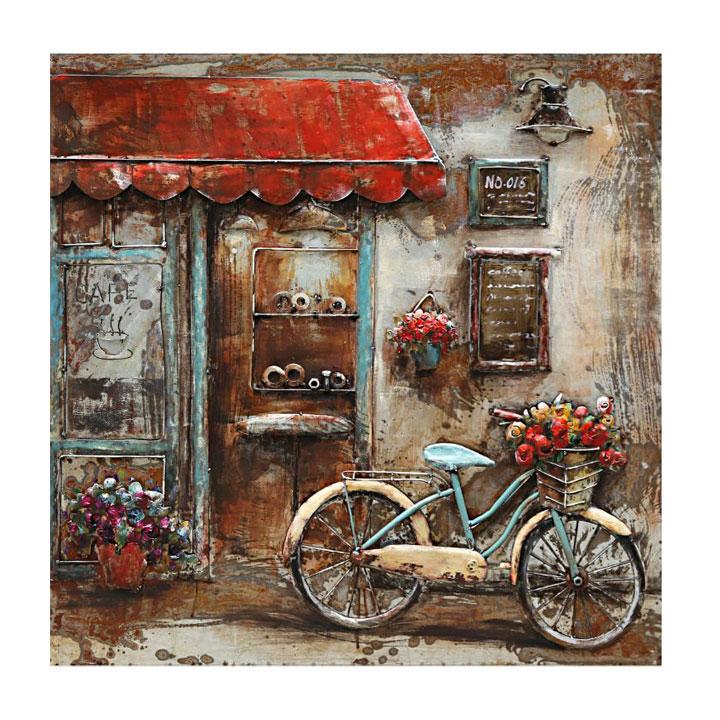 schilderij fiets koffieshop winkel patio