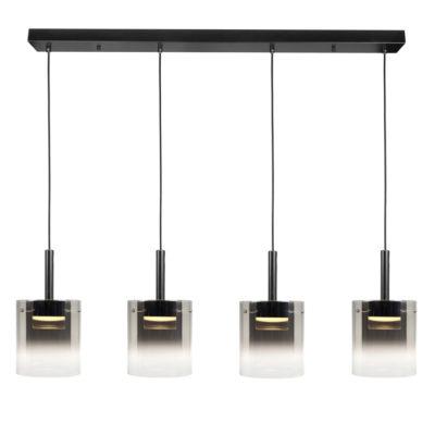 moderne hanglamp LED 4lichts glas rook zwart
