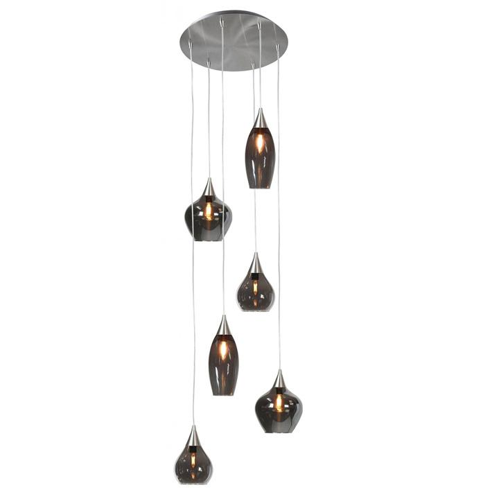 hanglamp rond glas 6lichts rookglas sfeer