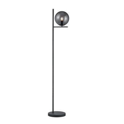 strakke moderne vloerlamp rookglas zwart