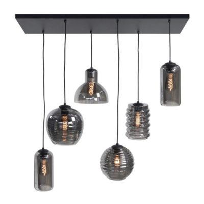 hanglamp fantasy glas rookglas 6L 1 meter zwart