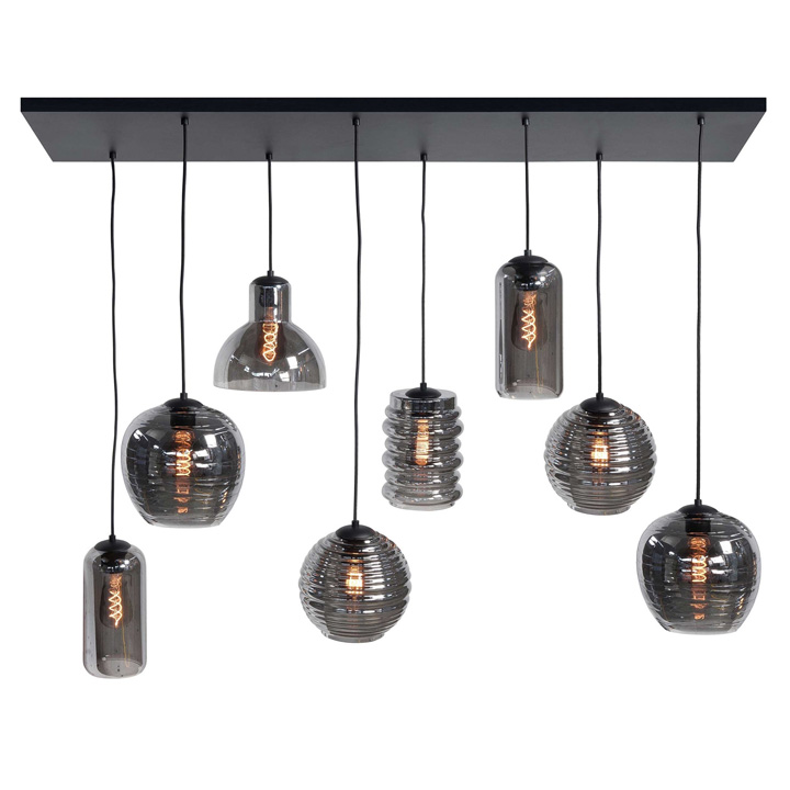 hanglamp zwart glas rookglas grote hanglamp