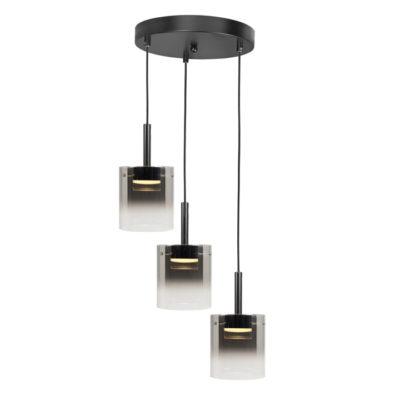 led hanglamp rond 3L zwart glas