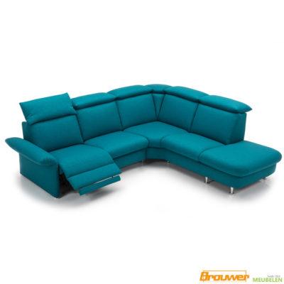 hoekbank met relaxfunctie blauw met hoofdsteunen