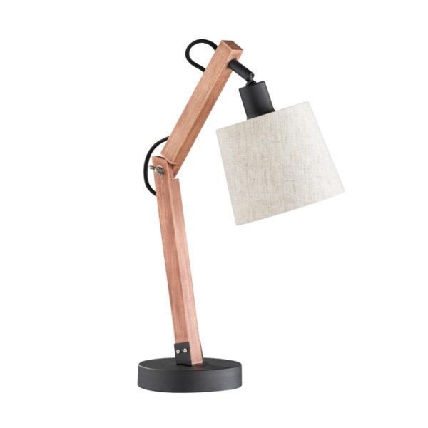 tafellamp hout witte kap