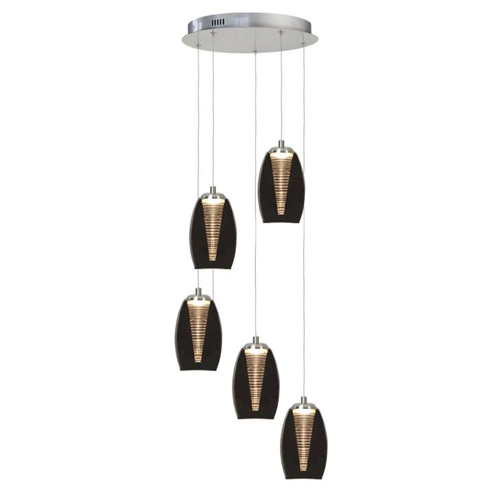 ronde hanglamp 5 lichts nebula LED glas