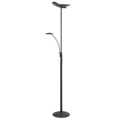 zwarte upligt vloerlamp met leesarm sapporo highlight