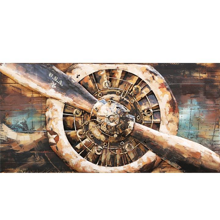 industrieel schilderij stoer vliegtuig propeller
