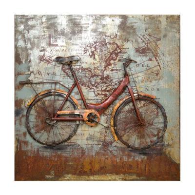 schilderij metaal 100x100 fiets