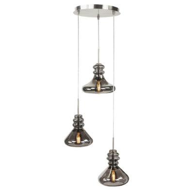 3 lichts hanglamp rond glas