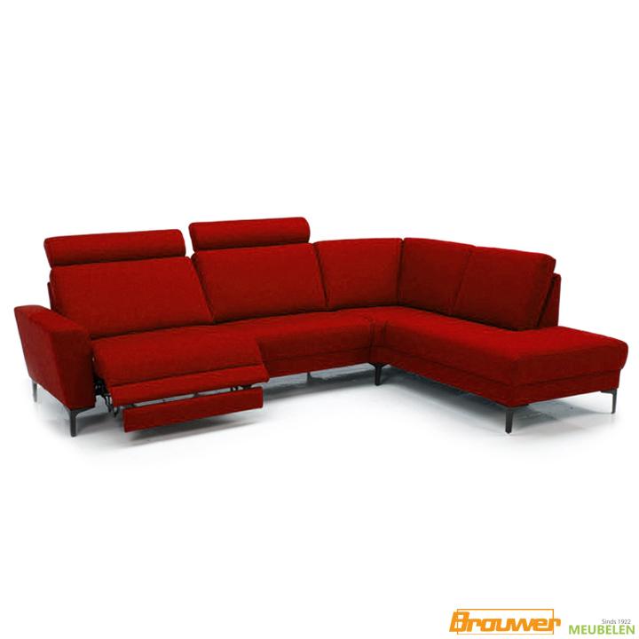 relaxbank rood board hoekbank relaxfunctie rode stof