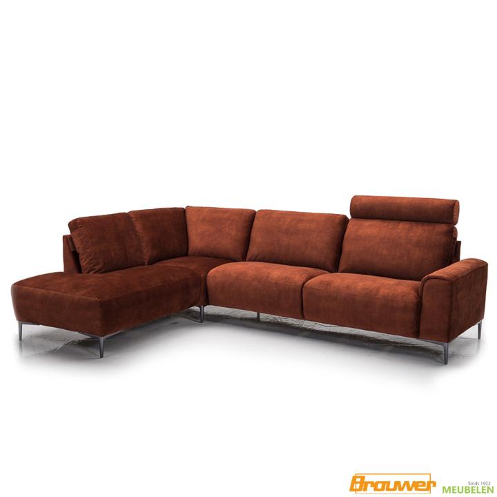 velvet hoekbank adore stof relaxbank oranje