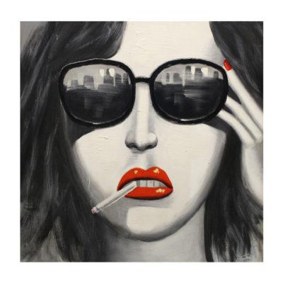 rokende vrouw schilderij dame red lips