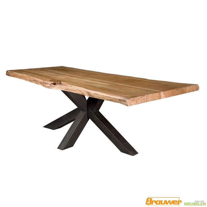 boomstamtafel spinpoot zwart stoere boomstam tafel