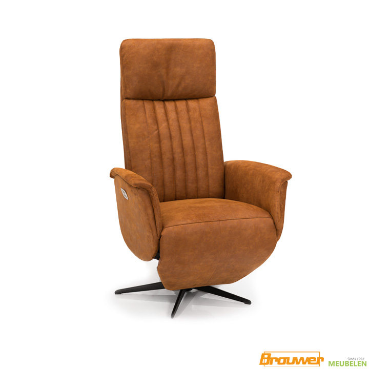 relaxfauteuil cognac elektrisch relaxstoel