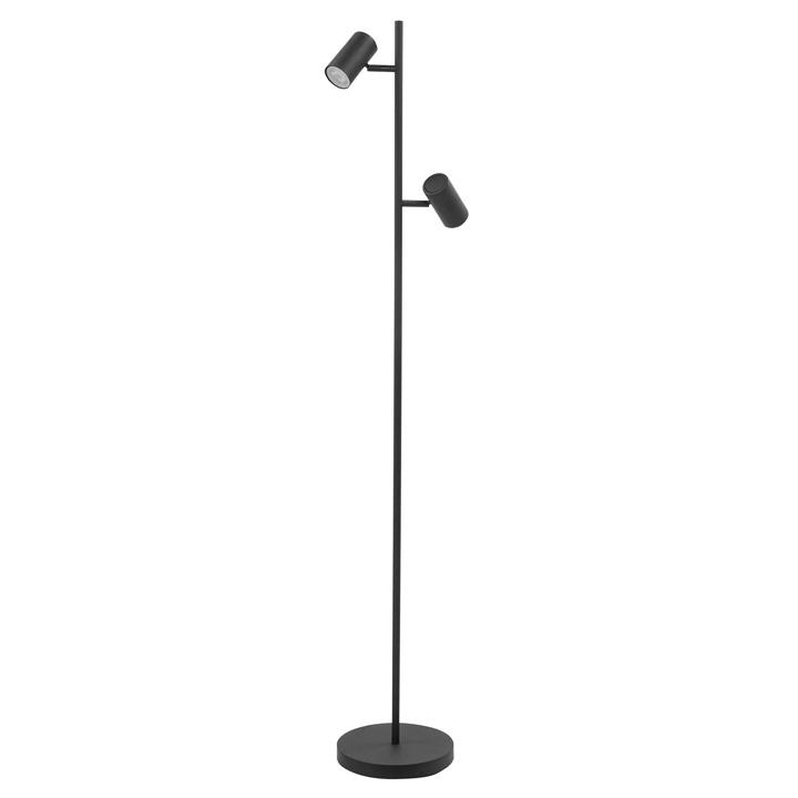 vloerlamp 2 lichts zwart
