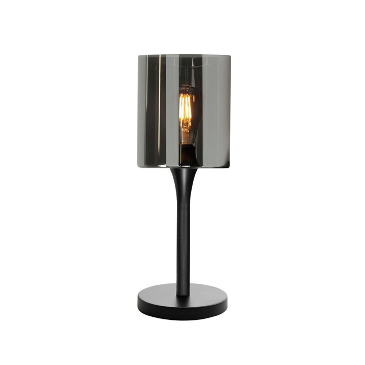zwarte tafellamp rookglas