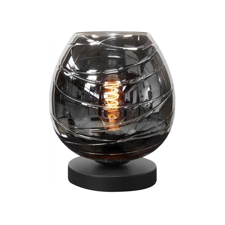 tafellamp glas rook smoke zwart mat
